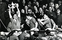Harry raises the Scottish Cup after victory in 1958