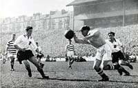 Celtic keeper Bonnar foils a Clyde raid during the 1955 Final