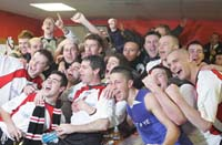 Dressing room party after defeating Celtic 2-1